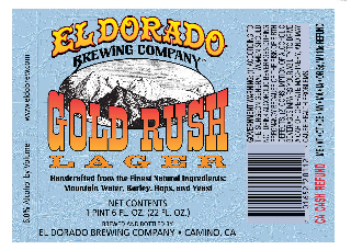 Label for Gold Rush Lager